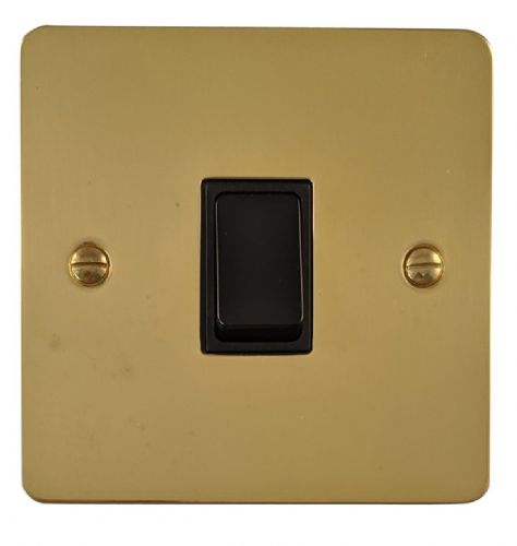 G&H FB5B Flat Plate Polished Brass 1 Gang Intermediate Rocker Light Switch